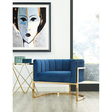 TOV Furniture Modern Magnolia Navy Chair with Gold Base TOV-A146-Minimal & Modern