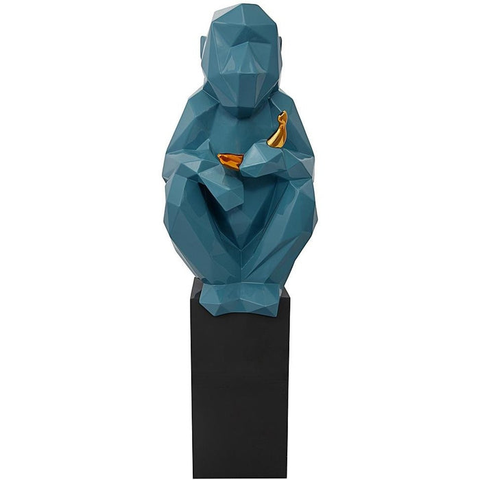 TOV Furniture Modern Monkey with Banana Large Sculpture - Blue and Gold TOV-C6601-Minimal & Modern