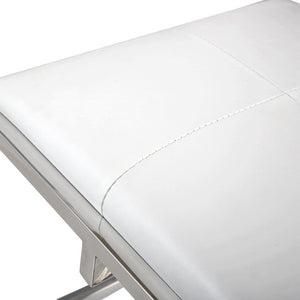 TOV Furniture Modern Owen White Eco-Leather Ottoman TOV-OC3725-Minimal & Modern