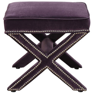 TOV Furniture Modern Reese Purple Velvet Ottoman TOV-O17-Purple-Minimal & Modern