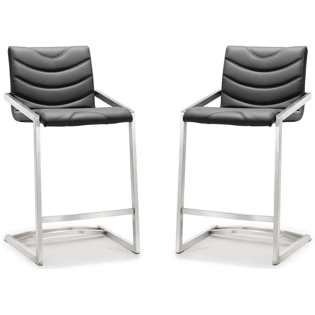 TOV Furniture Modern Rio Grey Stainless Steel Counter Stool - Set of 2 TOV-K3609-Minimal & Modern