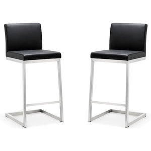 TOV Furniture Modern Parma Black Steel Counter Stool - Set of 2 TOV-K3604-Minimal & Modern
