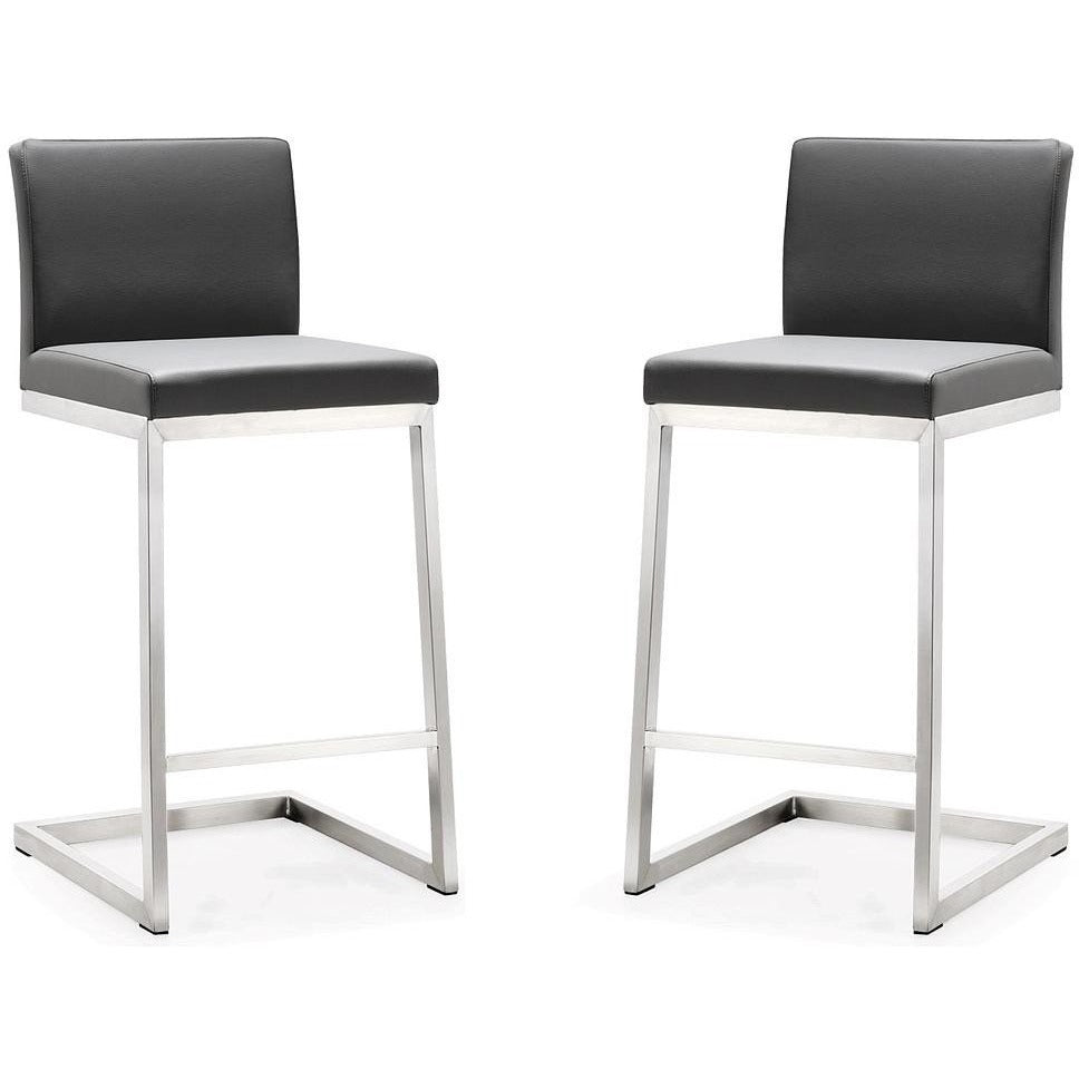 TOV Furniture Modern Parma Grey Steel Counter Stool - Set of 2 TOV-K3606-Minimal & Modern