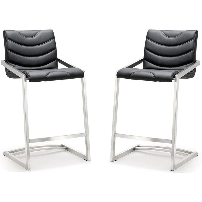 TOV Furniture Modern Rio Black Stainless Steel Counter Stool - Set of 2 TOV-K3607-Minimal & Modern