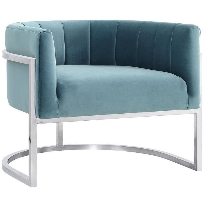 TOV Furniture Modern Magnolia Sea Blue Chair with Silver Base TOV-A147-Minimal & Modern