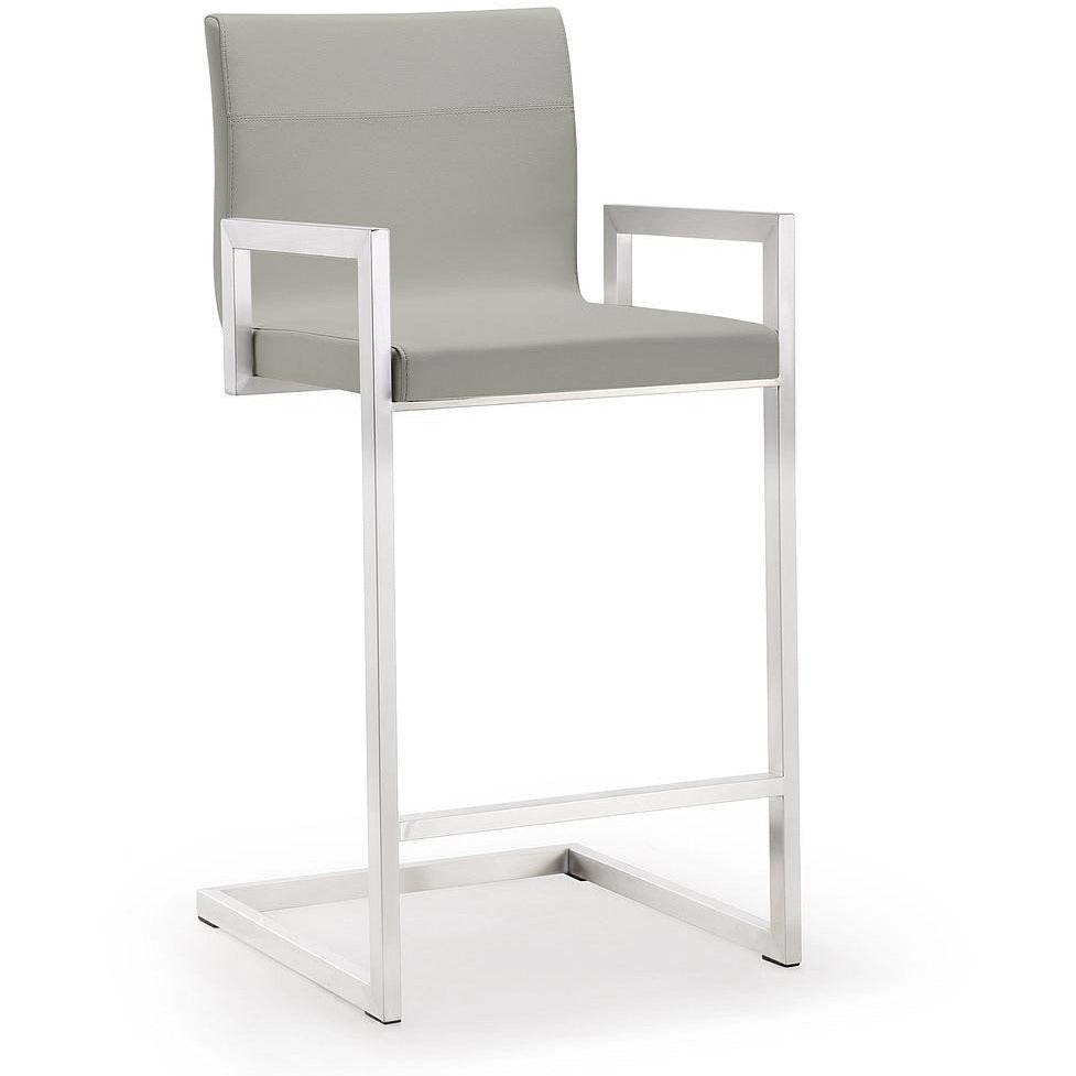 TOV Furniture Modern Milano Light Grey Steel Counter Stool - Set of 2 TOV-K3652-Minimal & Modern