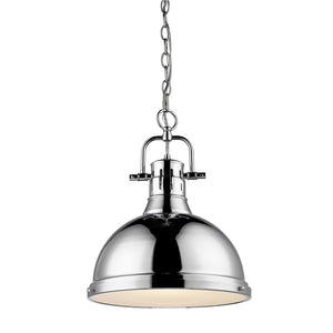 Golden Lighting Duncan 1 Light Pendant with Chain in Chrome with a Chrome Shade - 3602-L CH-CH - 2