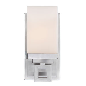 Golden Lighting Nelio 1 Light Bath Vanity in Pewter with Cased Opal Glass - 4444-BA1 PW-Minimal & Modern