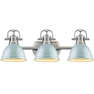 Golden Lighting Duncan 3 Light Bath Vanity in Pewter with Seafoam Shades - 3602-BA3 PW-SF - 2