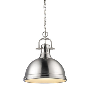 Golden Lighting Duncan 1 Light Pendant with Chain in Pewter with a Pewter Shade - 3602-L PW-PW - 2