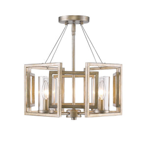 Golden Lighting Marco Semi-Flush (Convertible) in White Gold with Clear Glass - 6068-SF WG-Minimal & Modern
