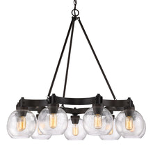 Golden Lighting Galveston 6 Light Chandelier in Rubbed Bronze with Seeded Glass - 4855-6 RBZ-SD - 4