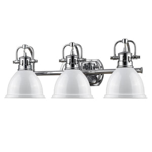 Golden Lighting Duncan 3 Light Bath Vanity in Chrome with White Shades - 3602-BA3 CH-WH - 2