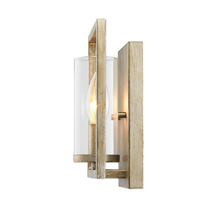 Golden Lighting Marco 1 Light Wall Sconce in White Gold with Clear Glass - 6068-1W WG - 3