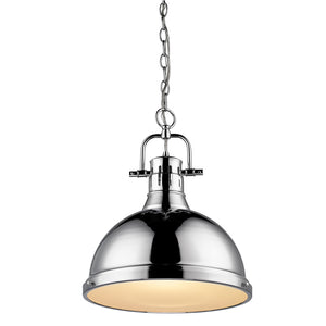 Golden Lighting Duncan 1 Light Pendant with Chain in Chrome with a Chrome Shade - 3602-L CH-CH - 3