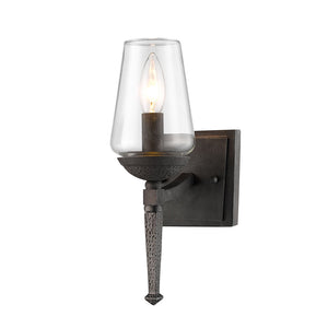 Golden Lighting Marcellis 1 Light Wall Sconce in Dark Natural Iron with Clear Glass - 1208-1W DNI-Minimal & Modern