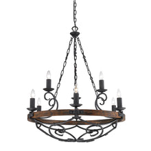 Golden Lighting Madera 2 Tier - 9 Light Chandelier in Black Iron with - 1821-9 BI - 2