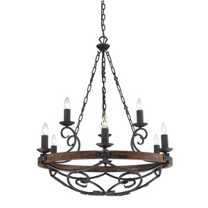 Golden Lighting Madera 2 Tier - 9 Light Chandelier in Black Iron with - 1821-9 BI-Minimal & Modern