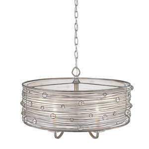 Golden Lighting Joia 5 Light Chandelier in Peruvian Silver with Sterling Mist Shade - 1993-5 PS-Minimal & Modern