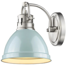 Golden Lighting Duncan 1 Light Bath Vanity in Pewter with a Seafoam Shade - 3602-BA1 PW-SF-Minimal & Modern