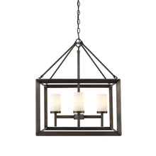 Golden Lighting Smyth 4 Light Chandelier in Gunmetal Bronze with Opal Glass - 2073-4 GMT-OP - 2