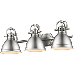 Golden Lighting Duncan 3 Light Bath Vanity in Pewter with Pewter Shades - 3602-BA3 PW-PW - 1