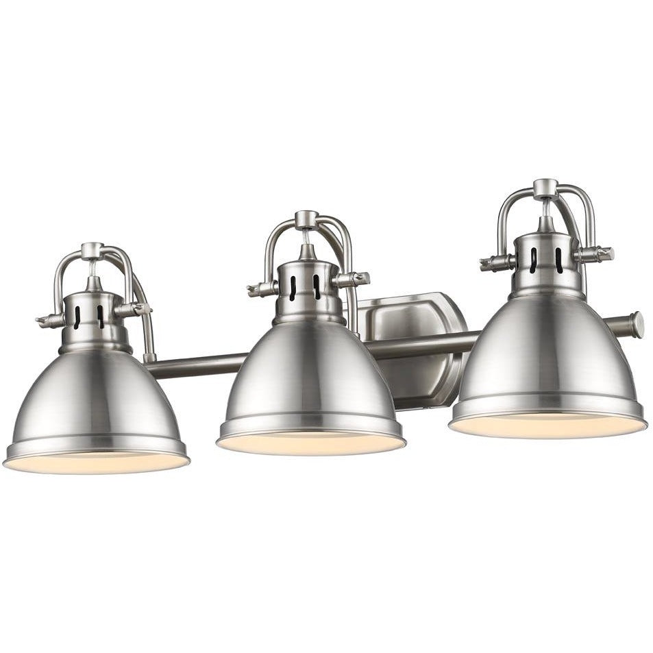 Golden Lighting Duncan 3 Light Bath Vanity in Pewter with Pewter Shades - 3602-BA3 PW-PW-Minimal & Modern