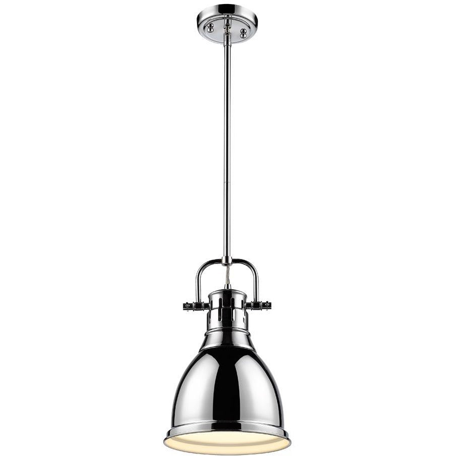 Golden Lighting Duncan Small Pendant with Rod in Chrome with a Chrome Shade - 3604-S CH-CH - 1