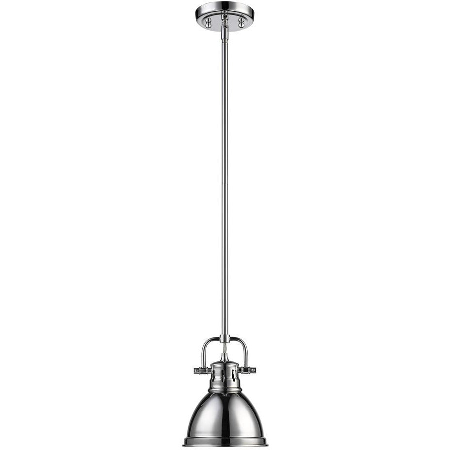 Golden Lighting Duncan Mini Pendant with Rod in Chrome with a Chrome Shade - 3604-M1L CH-CH-Minimal & Modern