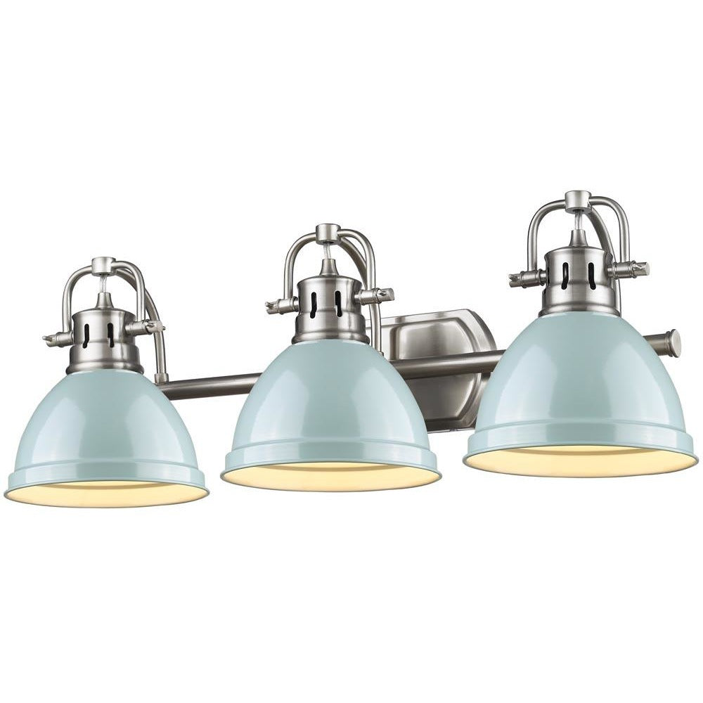 Golden Lighting Duncan 3 Light Bath Vanity in Pewter with Seafoam Shades - 3602-BA3 PW-SF - 1