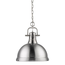 Golden Lighting Duncan 1 Light Pendant with Chain in Pewter with a Pewter Shade - 3602-L PW-PW - 3