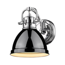 Golden Lighting Duncan 1 Light Bath Vanity in Chrome with a Black Shade - 3602-BA1 CH-BK - 2