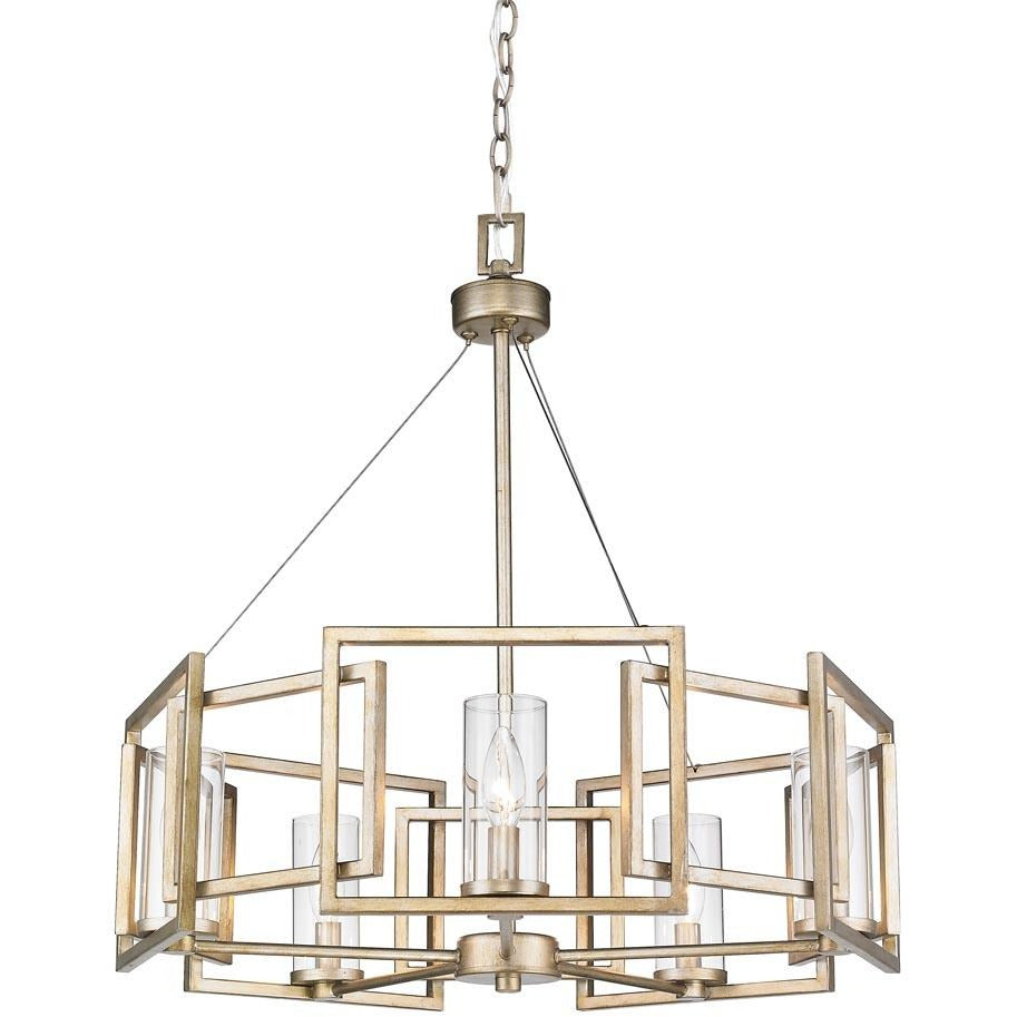 Golden Lighting Marco 5 Light Chandelier in White Gold with Clear Glass - 6068-5 WG - 1