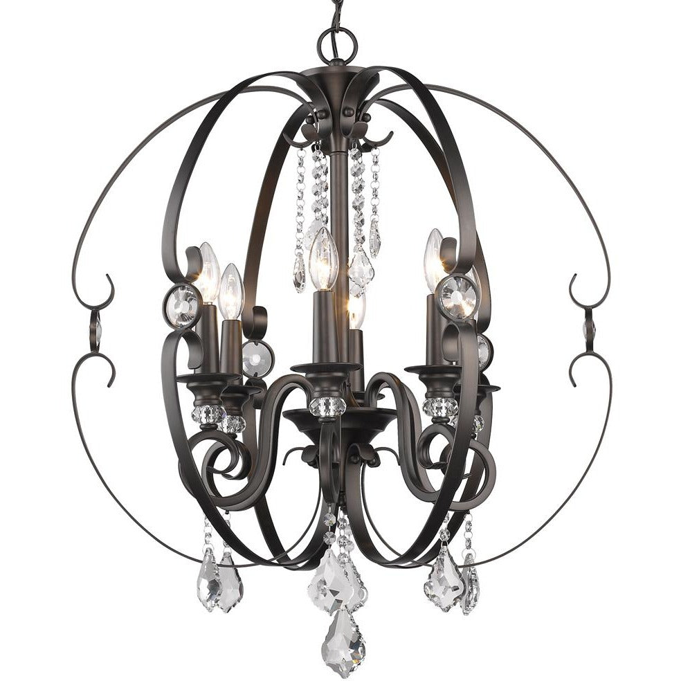 Golden Lighting Ella 6 Light Chandelier in Brushed Etruscan Bronze - 1323-6 EBB-Minimal & Modern
