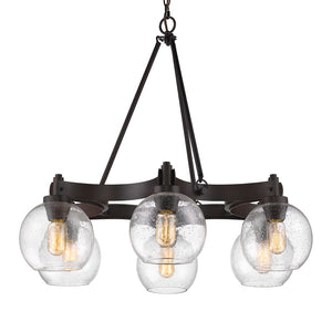 Golden Lighting Galveston 6 Light Chandelier in Rubbed Bronze with Seeded Glass - 4855-6 RBZ-SD - 3