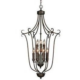 Golden Lighting Multi-Family 2 Tier - 9 Light Caged Foyer in Rubbed Bronze with Drip Candlesticks - 6427-9 RBZ-Minimal & Modern
