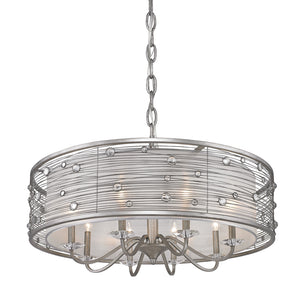Golden Lighting Joia 8 Light Chandelier in Peruvian Silver with Sterling Mist Shade - 1993-8 PS - 2