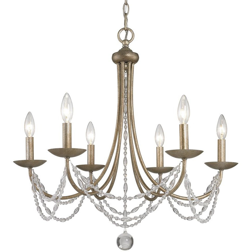 Golden Lighting Mirabella 6 Light Chandelier in Golden Aura with metal candlesticks - 7644-6 GA - 1
