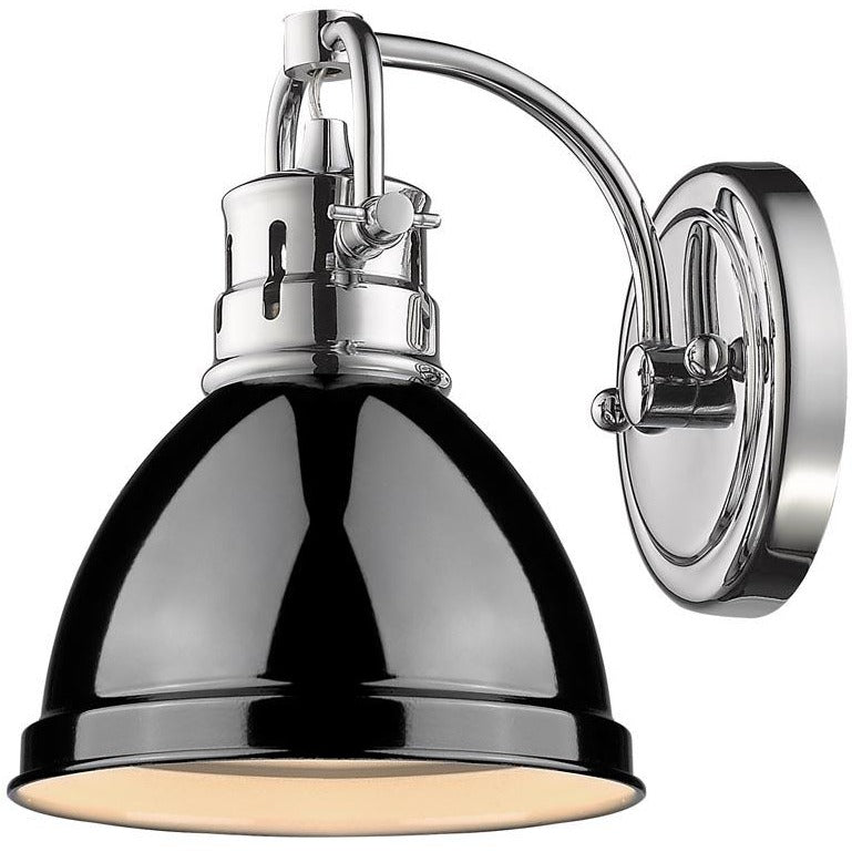 Golden Lighting Duncan 1 Light Bath Vanity in Chrome with a Black Shade - 3602-BA1 CH-BK - 1
