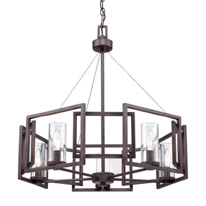 Golden Lighting Marco 5 Light Chandelier in Gunmetal Bronze with Clear Glass - 6068-5 GMT-Minimal & Modern