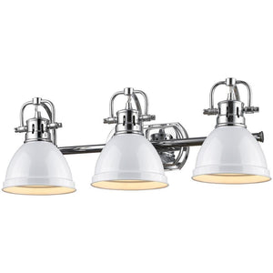 Golden Lighting Duncan 3 Light Bath Vanity in Chrome with White Shades - 3602-BA3 CH-WH - 1