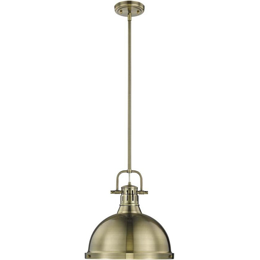 Golden Lighting Duncan 1 Light Pendant with Rod in Aged Brass with an Aged Brass Shade - 3604-L AB-AB-Minimal & Modern