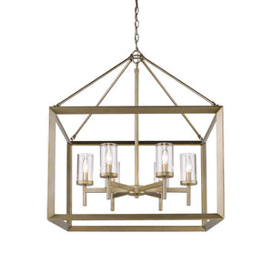 Golden Lighting Smyth 6 Light Chandelier in White Gold with Clear Glass - 2073-6 WG-CLR-Minimal & Modern