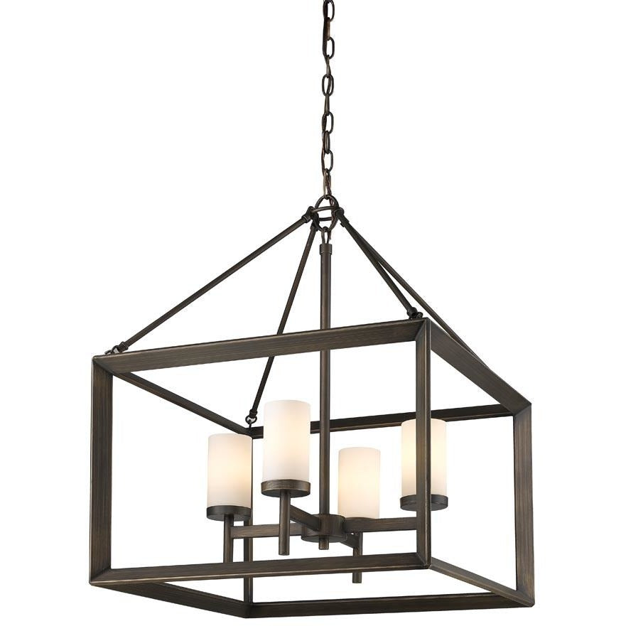 Golden Lighting Smyth 4 Light Chandelier in Gunmetal Bronze with Opal Glass - 2073-4 GMT-OP - 1