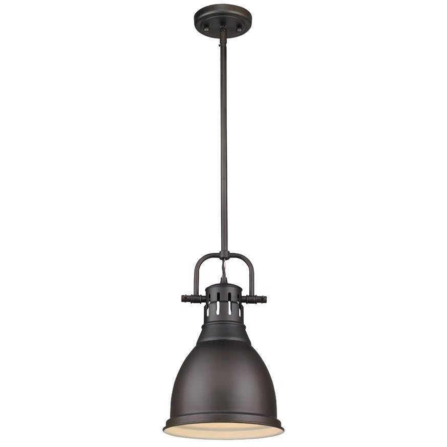 Golden Lighting Duncan Small Pendant with Rod in Rubbed Bronze with a Rubbed Bronze - 3604-S RBZ-RBZ-Minimal & Modern