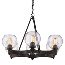 Golden Lighting Galveston 6 Light Chandelier in Rubbed Bronze with Seeded Glass - 4855-6 RBZ-SD-Minimal & Modern