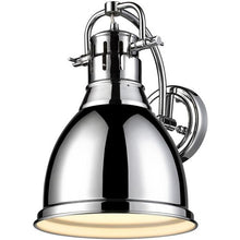 Golden Lighting Duncan 1 Light Wall Sconce in Chrome with a Chrome Shade - 3602-1W CH-CH - 1