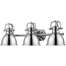 Golden Lighting Duncan 3 Light Bath Vanity in Chrome with Chrome Shades - 3602-BA3 CH-CH - 1
