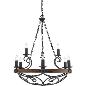 Golden Lighting Madera 2 Tier - 9 Light Chandelier in Black Iron with - 1821-9 BI - 1