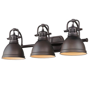 Golden Lighting Duncan 3 Light Bath Vanity in Rubbed Bronze with Rubbed Bronze Shades - 3602-BA3 RBZ-RBZ-Minimal & Modern